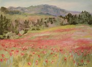 Floral Pastels Originals - Poppy Field by Barbara Smeaton