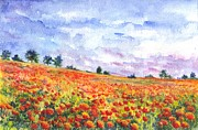 Landscape Framed Prints Drawings Prints - Poppy Field Print by Carol Wisniewski