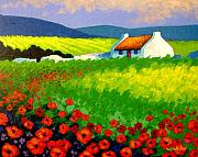 Landscape Greeting Cards Painting Framed Prints - Poppy Field - Ireland Framed Print by John  Nolan