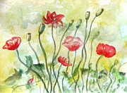 Red Poppies Drawings - Poppy Field by Jan Watford