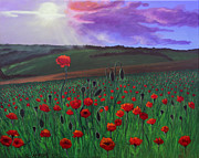 Sun Rays Painting Prints - Poppy Field Print by Janet Greer Sammons