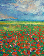 Impasto Oil Paintings - Poppy Field by Michael Creese