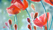 Field Of Flowers Paintings - Poppy Field by Natasha Denger