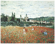 Field Of Flowers Paintings - Poppy Field Near Vetheuil by Claude Monet