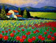 Impressionism Acrylic Prints Paintings - Poppy Field - Provence by John  Nolan