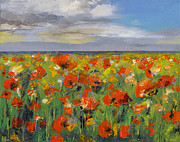Poppy Field Paintings - Poppy Field with Storm Clouds by Michael Creese