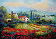 Village Scene Paintings - Poppy fields of Italy by Gina Femrite