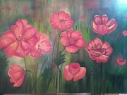 Phthalo Blue Paintings - Poppy flowers by Ordy Duker