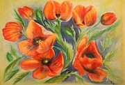 Poppy Drawings - Poppy flowers by Ruslana Lev
