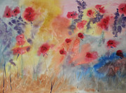 Poppies Field Paintings - Poppy Garden #2 by Tony Cook