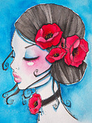 Red Poppies Drawings - Poppy Girl by Margie Forestier