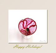 White Glass Art Posters - Poppy. Happy Holidays Poster by Oksana Semenchenko