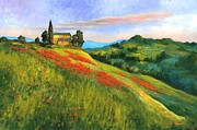 Tuscan Sunset Painting Prints - Poppy Hill Print by Michael Swanson