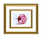 Delicate Glass Art - Poppy in white and gold frame by Oksana Semenchenko