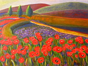 Robie Benve Prints - Poppy-ing up Tulips in Tuscany Print by Robie Benve