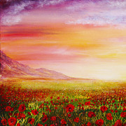 Kinkade Framed Prints - Poppy Meadow Framed Print by Ann Marie Bone