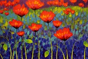 Green Field Paintings - Poppy Meadow   cropped 2 by John  Nolan
