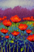 Perspective Paintings - Poppy Meadow   cropped by John  Nolan