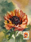 Alfred Ng - Poppy painting with stamp