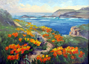 California Poppy Paintings - Poppy Path Pt. Lobos  by Karin  Leonard