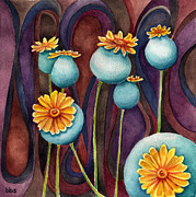 Pods Painting Framed Prints - Poppy Pods Framed Print by Brandi Solomon