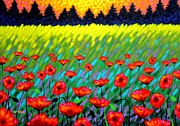 Impressionism Acrylic Prints Paintings - Poppy Scape by John  Nolan