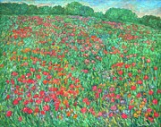 Field Of Flowers Paintings - Poppy View by Kendall Kessler