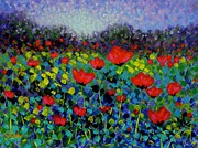 Poppies Field Painting Originals - Poppy Vista by John  Nolan