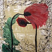 Creative Mixed Media Originals - Poppys Entwined by Jeanne Ward