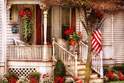 Red Geraniums Photo Prints - Porch - Americana Print by Mike Savad