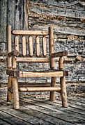 Log Cabins Framed Prints - Porch Chair Framed Print by Heather Applegate