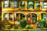 Rocking Chairs Framed Prints - Porch - Cranford NJ - A Yellow Classic  Framed Print by Mike Savad
