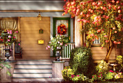 Autumn Scenes Framed Prints - Porch - Cranford NJ - Simply Pink Framed Print by Mike Savad