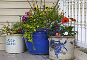Crocks Photo Prints - Porch flowers Print by Sharon  Smith