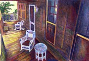 Chair Mixed Media Originals - Porch in Golden Light by Kendall Kessler
