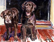 Retrievers Paintings - Porch Light by Molly Poole