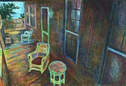 Chair Mixed Media Originals - Porch Lithograph by Kendall Kessler