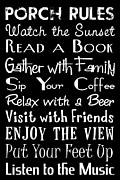 Porch Framed Prints - Porch Rules Poster Framed Print by Jaime Friedman