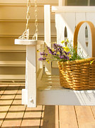 Flower Basket Framed Prints - Porch Swing with Flowers Framed Print by Diane Diederich