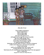 Trio Pastels Prints - Porch Trio with Poem Print by Samara Doumnande