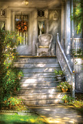 Old Houses Framed Prints - Porch - Westfield NJ - Grannies Porch  Framed Print by Mike Savad
