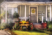 Wreath Prints - Porch - Westfield NJ - The house of an Angel Print by Mike Savad