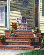 Flowerpots Framed Prints - Porch with Pots of Geraniums Framed Print by Susan Savad