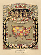 Pork Map Of The United States From 1876 Print by Blue Monocle