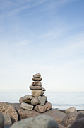Solid Prints - Porlock Weir Stone Stack Print by Anne Gilbert