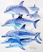 Whales Paintings - Porpoise play by Carey Chen