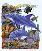 Whale Painting Prints - Porpoise Reef Print by Carey Chen