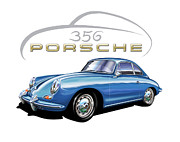 Sportscar Digital Art - Porsche 356 Coupe Blue by David Kyte