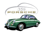 Porsche Digital Art - Porsche 356 Coupe Green  by David Kyte