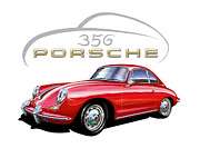 Red Digital Art Posters - Porsche 356 Coupe Red Poster by David Kyte